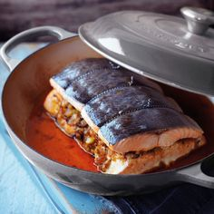Cajun Spiced Salmon Roast with Summer Slaw - Le Creuset Recipes Cajun Recipes, Cooking Recipes, Olive Oil Vinaigrette, Summer Slaw, Salmon Sandwich, Le Creuset Cookware, Red Cabbage, Smoked Paprika, Fresh Herbs