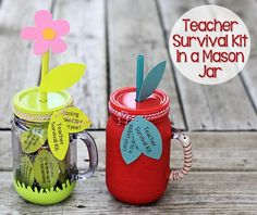Teacher Survival Kit in a Mason Jar - This is a great project for kids to make for a back-to-school present for their teacher! (http://aboutfamilycrafts.com/teacher-survival-kit-in-a-mason-jar/)