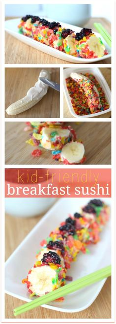 Kid Friendly Breakfast Sushi - such a cute idea! Make these delicious Kid-Friendly Breakfast Sushi pieces for a FUN take on a delicious breakfast idea that your kids will love Breakfast Sushi, Breakfast And Brunch, Best Breakfast, Breakfast Recipes, Breakfast Ideas For Kids, Breakfast Cereal, Fun Meals For Kids, Fun Recipes For Kids, Back To School Breakfast