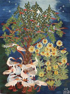 Egyptian tapestry by Ramses Wissa Wassef artist Nadia Mohamed. Handwoven in Harrinia, Egypt.   Ramses Wissa Wassef Tapestries