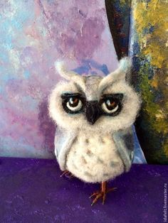 Needle felted Owl by Daria Ivanyuk of Moscow