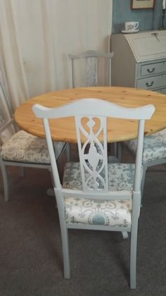 Lovely nouveau styled legs and gently scrolled tops & intricate fretwork backs. Hand painted in Paris Grey Annie Sloan chalk paint. Prepared, painted & finished in Annie Sloan Paris Grey chalk paint & clear wax. | eBay!