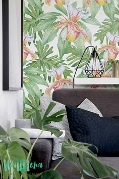 Ginger and Philodendron Leaves Wallpaper