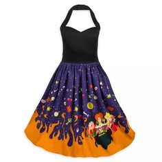 Tonight, you'll fly in style wearing this bewitching dress inspired by the 1993 fan favorite Hocus Pocus. Conjure compliments with the Sanderson Sisters in tow on the skirt of this halter top dress featuring embroidered accents in back. Disney Dresses For Women, Disney Outfits, Disney Clothes, Casual Dress Outfits, Emo Outfits, Hocus Pocus, High Fashion, Disney Fashion, Punk Fashion