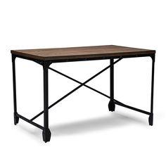Baxton Studio Greyson Vintage Industrial Antique Bronze Home Office Wood Desk