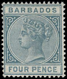 Barbados 64 (97) 1882 4d grey Q Victoria, wmkd CA, perf 14