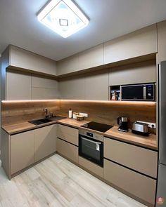 Modern Kitchen Interiors, Luxury Kitchen Design, Kitchen Room Design, Modern Kitchen Cabinets, Kitchen Cabinet Design, Kitchen Layout, Home Decor Kitchen, Interior Design Kitchen, Home Kitchens