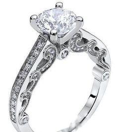7af4af7e5 14K white gold engagement ring vintage style 1/2ct round real diamond semi  mount