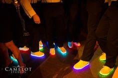 Groom and groomsman neon shoes