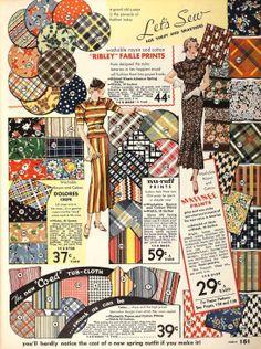 1934 fabrics - flower, stripe and check prints