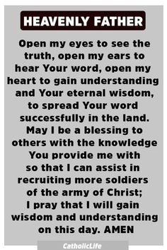 Powerful Prayer to God for His Divine Wisdom - Jesus Quote - Christian Quote - Powerful Prayer to God for His Divine Wisdom Prayer Scriptures, Bible Prayers, Faith Prayer, God Prayer, Power Of Prayer, Prayer Quotes, Faith In God, Spiritual Quotes, Faith Quotes