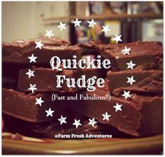 Fresh from the Kitchen: Quickie Fudge Recipe (peanut free snacks powdered sugar) Nut Recipes, Fudge Recipes, Dessert Recipes, Yummy Recipes, Yummy Treats, Sweet Treats, Yummy Food, Peanut Free Snacks, Oh Fudge