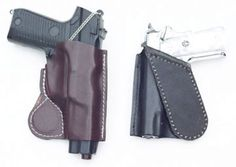 Croixland Leather magnetic holster - body hugging, compact. You customize the fit by following the simple directions on the package to have a formed holster, molded to your handgun. Available in brown or black leather, R or L hand draw, canted or cross draw. Requires no belt due to the extremely powerful neodymium rare Earth magnet. $38.50