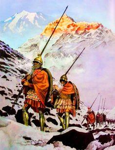 Macedońska piechota powraca z długoletniej wyprawy Aleksandra (rys. Marek Szyszko).