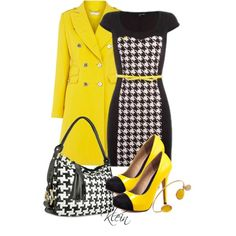 Yellow Coat, Black/Houndstooth Pencil Dress, Yellow and Black Pumps, Houndstooth Bag and Matching Accessories.