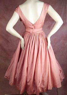 Fabulous Early 1950's Hubert de Givenchy Pink Satin Dress (back)