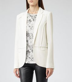 Womens Cream Contrast Trim Jacket - Reiss Georgie