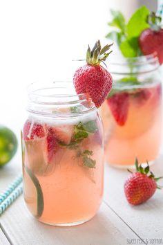 Strawberry Rhubarb Rosé Sangria - Refreshing Rose Cocktail Recipes - Photos