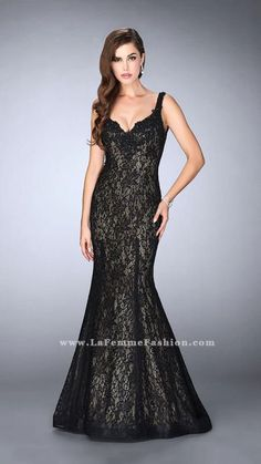 bdbdbcca7778 Make a grand statement at your next formal event in this Open Back Beaded  Lace Mermaid Prom Dress by La Femme. This style features a halter neckline  that is ...