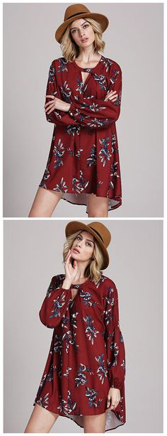 Be ultra chic and sexy in this floral print wine-red dress. Its neckline comes with a deep v-cut that locks to a buttoned centre flat strap. It's long sleeve detail also balances its overall aesthetic, while its flowy bodice gives a stylishly feminine flare. Wear with shorts or as is with heels for that party ready chicness.