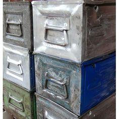 Industrial metal boxes.