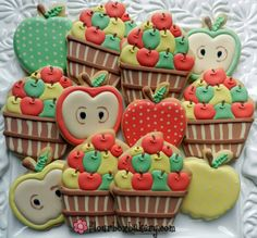 Flour Box Bakery has hand-iced decorated cookie gifts and favors, how-to cookie decorating video tutorials, and professional and affordable decorating supplies. Farm Cookies, Apple Cookies, Iced Cookies, Cute Cookies, Cupcake Cookies, Sugar Cookies, Cookies Et Biscuits, Cupcakes, Fruit Cookies