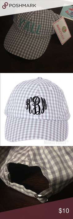 """NWT Marley Lilly """"Y'ALL"""" baseball cap This adorable baseball cap is cute and sporty. It features an adjustable back, mint letters, and a gingham pattern. marley lilly Accessories Hats"""