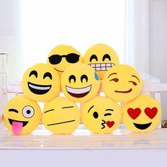 Cute Soft Emoji Throw Pillow Funny Stuffed Round Emoticon Smiley Cushion Toy Doll Home Decor Sofa 17 Styles 32cmx32cmx10cm #Affiliate