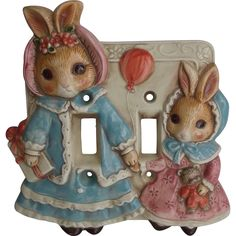 Mother and Baby Bunny Rabbits Light Switch Cover Takahashi Japan Offered by Ruby Lane shop Saltymaggie's Treasures.