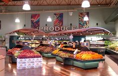 Grocery Store Interior Signage | Market Produce Area Upgrade | Suspended Metal Trellis | North Coast Co-op by I-5 Design & Manufacture, via Flickr