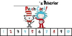 Behavior Punch Cards- Dr. Seuss Theme