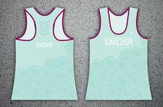 "Women's sports KONOCZASPI tank tops without illustration. MINT turquoise with pattern ""florist""."