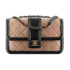 Chanel Lambskin Light Gold Metal Handbag Beige Black A91365 Y07659 C1633 Made in France -- Awesome products selected by Anna Churchill
