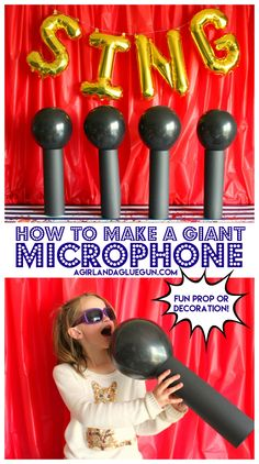 Learn how to make these awesome giant microphone- perfect for a karaoke sing movie party! #SingMovie #ad