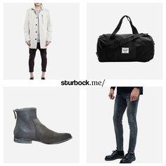 Mantel von Isora, Reisetasche von Herschel, Stiefel von Diesel und Jeans von Cheap Monday. Hier entdecken und shoppen: http://sturbock.me/5lN