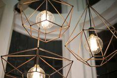 Rough Diamond Pendant Copper Lights by Ben-Tovim Design $475 each, Geometric