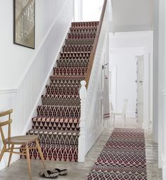 How Much Does It Cost to Carpet Stairs Traditional Staircase Also Colour Hallway Pattern Patterned Carpet Rug Runner Stair Runner Staircase Carpet Staircases Stairs Wall Art Wood Chair Wooden Floor Stairway Carpet, Carpet Stair Treads, Hallway Carpet, Hallway Flooring, Carpet Runner On Stairs, Staircase Runner, Office Carpet, Hardwood Stairs, Patterned Stair Carpet