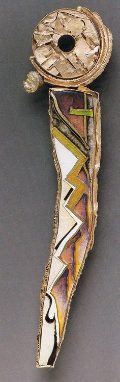 william harper   THE SECOND HOLY ANOREXIC  1988 gold and silver cloisonné' enamel on fine silver; 14 and 24 kt gold; pearl