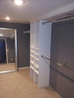 43 Trendy Ideas Small Walk In Closet Organization Diy Budget Storage Ideas Boutique Interior, Walk In Closet Small, Closet With Mirror, Spare Room Walk In Closet, Closet Redo, Closet Space, Closet Doors, Master Bedroom Closet, Diy Bedroom