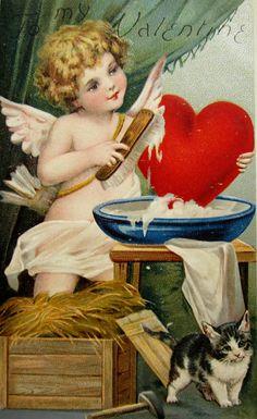 Frances Brundage Beautiful Cupid Valentine Felt Applique Heart Kitten Vintage Postcard by JerryBurton on Etsy Valentine Images, Vintage Valentine Cards, My Funny Valentine, Vintage Greeting Cards, Vintage Ephemera, Valentine Day Cards, Vintage Postcards, Valentines Greetings, Valentines Day Hearts