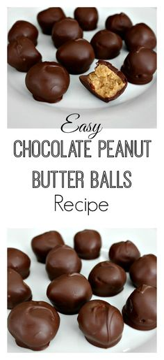 Easy Chocolate Peanut Butter Balls Recipe -- These are perfect for parties, get-to-gethers or when you have a serious craving for chocolate and peanut butter. With only 5 ingredients, you can whip these up and be indulging in no time.