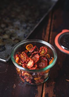 The taste of slow-roasted tomatoes pierces. It's so sharply sweet and intense, tomato condensed and condensed some more until all its taste is packaged in a shriveled, innocuous mass.