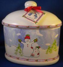 Snowman Oval Cookie Jar Ceramic Sweet Williams Snowball