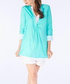 Turquoise & White Layered Tunic