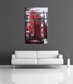 Abstract Painting Modern Black White Red Gray Acrylic By