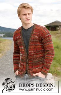"""Knitted DROPS jacket for men in 2 threads """"Fabel"""". Size: S - XXXL. ~ DROPS Design"""