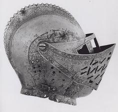 German  Grosschedel Workshop, Landshut (Probably)    Close Helmet, 1551, possibly 1557    Steel, gilding  H. 21 cm (8 1/4 in.)