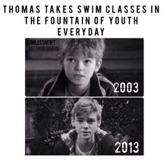 Thomas take swim classes in the fountain of youth everyday