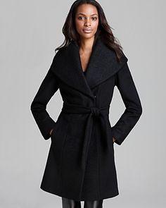 Calvin Klein Coat - Lux Boiled Wool Wrap | Bloomingdale's
