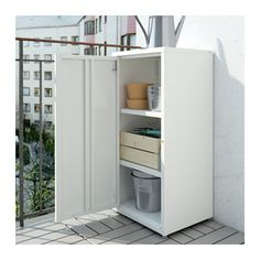 JOSEF Cabinet, indoor/outdoor - white - IKEA Another option on its side and no door.